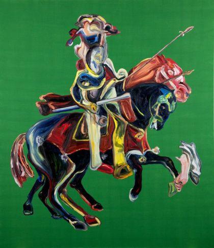 Matteo Fato, Senza titolo con Quattro esercizi Equestri, 2013, olio su lino, transport case in compensato, 210x180 cm Courtesy l'artista Foto Matteo Fato