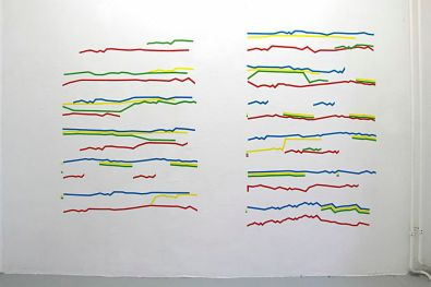 Caterina Rossato, Fugue No. 5, 2014, 4 voices, D+, bwv850 by J. S. Bach, well temperated clavier, vol1, tape on wall, variable dimensions
