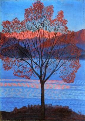 Luigi Russolo, Lo stesso paesaggio ai primi raggi di sole, 1940, olio su tavola, Collezione privata