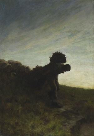 Giovanni Segatini, L'ultima fatica del giorno, 1884, olio su tela, 117x82 cm, Szepmuveszeti Muzeum - Museum of Fine Arts, Budapest