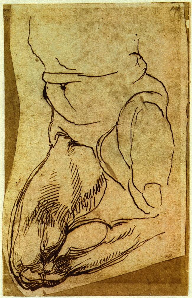Michelangelo, Studio parziale di nudo virile con gamba destra piegata, 1524-25, penna su carta, mm 194x124, Fondazione Casa Buonarroti
