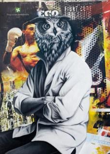 Federico Unia, Animal world n.1 - Il gufo, Collezione Privata Offbrera, Tecnica mista su tela, 100x70 cm, 2012
