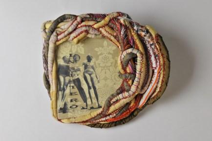 Florencia Martinez, Insisterò , 2014, stampa a getto di inchiostro su tessuto, ricamo, cm. 48x44