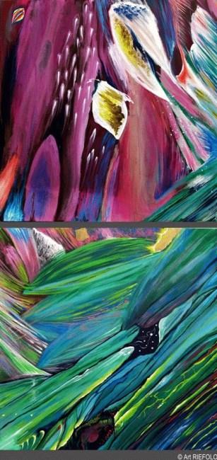 Michele Riefolo, Cercatori di luce, dittico, 2012, acrilico su tela, 100x50 cm