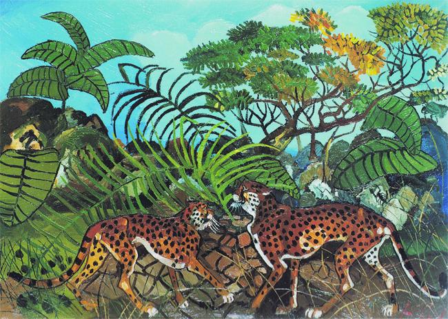 Antonio Ligabue, Leopardi nella foresta, 1962, olio su tela, cm 70x100