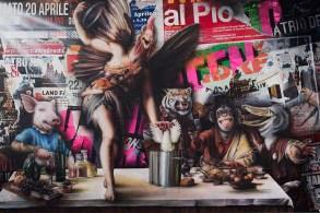 Federico Unia, Cosa bolle in pentola, 2013, tecnica mista su tela, 200x300 cm, Collezione privata De Palma