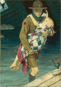 Norman Rockwell A Scout Is Helpful (Uno scout si rende utile), 1939 Cover of Boys' Life, February, 1941, and Boy Scouts of America calendar, 1941. Olio su tela, 86,36 x 60,96 cm Collection of The Norman Rockwell Museum at Stockbridge, NRM.1988.10 ©Norman Rockwell Family Agency. All rights reserved. Norman Rockwell Museum Collections