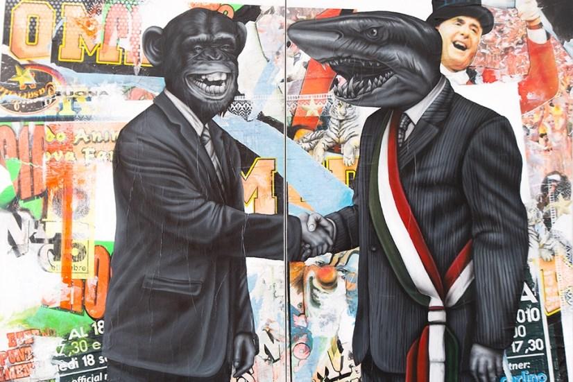 Federico Unia, Votatemi!, 2011, dittico, tecnica mista, 150x200 cm