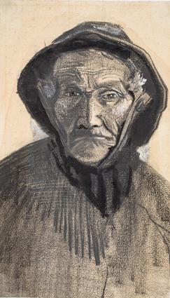 Vincent van Gogh, Testa di pescatore con cappello di tela cerata, 1883, matita, gessetto litografico nero, pennello, inchiostro nero, acquerelli bianco, grigio e rosa, decolorante fissativo attorno al disegno della testa e tracce di quadrettatura su carta per acquerello, 42.9x25.1, Kröller-Müller Museum, Otterlo © Kröller-Müller Museum, Otterlo