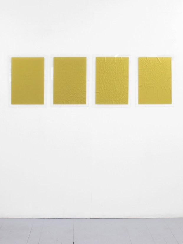 Gianni Moretti, Secondo esercizio di approssimazione al grande amore, 2014, caratteri impressi a secco su carta velina, quattro elementi di 50x35 cm l'uno, courtesy dell'artista