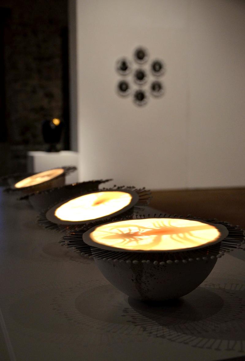 BACC | Biennale d'Arte Ceramica Contemporanea. La Ceramica Altrove. Edizione 2014 veduta degli allestimenti, Scuderie Aldobrandini di Frascati, Roma, in primo piano Bianca Susy Piva - Natura Intrappolata