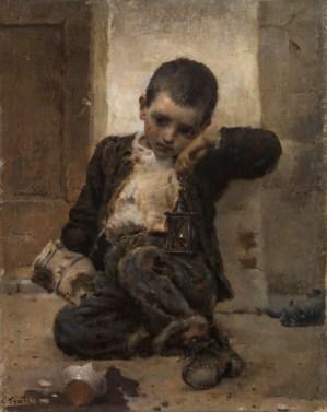 Eugenio Prati, Piccolo cantiniere, 1900, olio su tela, 38x30 cm, Mart, Roverto