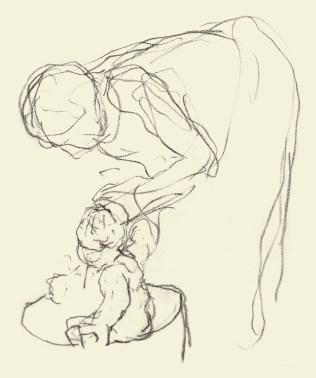 Giovanni Segantini, Madre che lava il bambino, 1886-87, matita su carta, 19.5x15 cm, Comune di Arco, Arco