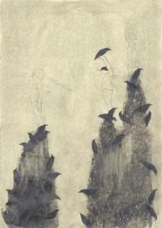Elisa Bertaglia, Bluebird #2, 29,5x20,5 cm, olio, carboncino e grafite su carta, 2014