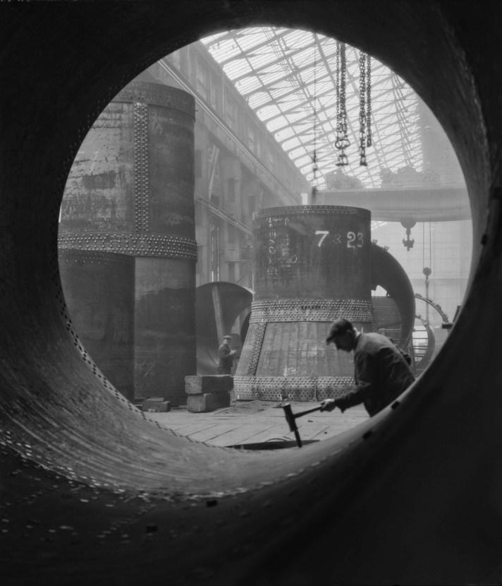 Emil Otto Hoppé, Rotary Kilns Under Construction in the Boiler Shop, Vickers-Armstrongs Steel Foundry, Tyneside, 1928, England, modern digital print © E.O. Hoppé Estate Collection / Curatorial Assistance