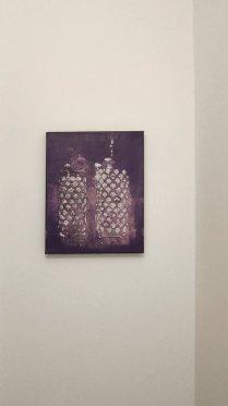 Elena El Asmar, Variabile di sentimento e di tempo, 2011, acrilico e bianchetto su tela, 35 x 45 cm, ph. Elena El Asmar