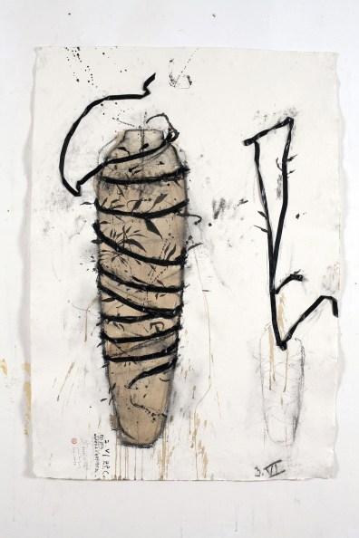 Piero Pizzi Cannella, Per una camera d'artista o Fiori secchi, 2009-10, tecnica mista su carta, 130x90 cm