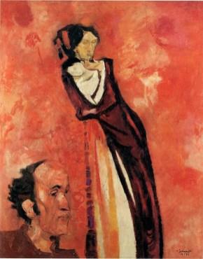 Trento Longaretti, Madre e autoritratto rosso, 1972, olio su tela, 95x55 cm