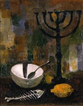 Trento Longaretti, Natura morta ebraica con lisca di pesce, 2001, olio su tela, 50x40 cm