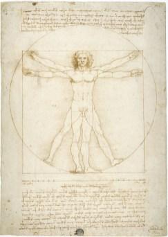 Leonardo da Vinci, Le proporzioni del corpo secondo Vitruvio (L'uomo vitruviano), disegno inciso e forato con punte metalliche, ripassato ad inchiostro con tocchi dello stesso inchiostro acquarellato, Venezia, Gallerie dell'Accademia