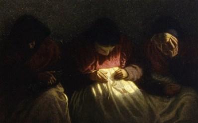 Angelo Morbelli, Le parche, 1904, olio su tela, 56x84.5 cm, Studio d'Arte Nicoletta Colombo, Milano