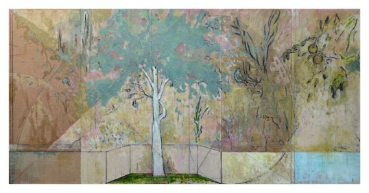 Harry Adams, Impossible garden of the perpetual here and now, 2014, oil characoal and beeswax encaustic on cotton covered boards, 152×305 cm