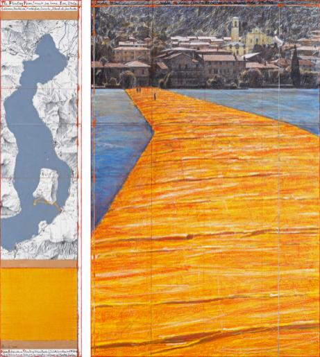 "Christo The Floating Piers (Project for Lake Iseo, Italy) Drawing 2014 65 x 15"" and 65 x 42"" (165 x 38 cm and 165 x 106.6 cm) Pencil, charcoal, pastel, wax crayon, enamel paint, cut-out photographs by Wolfgang Volz, topographic map, fabric sample and tape Photo: André Grossmann © 2014 Christo"