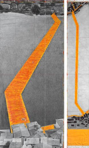 "Christo The Floating Piers (Project for Lake Iseo, Italy) Drawing 2015 in two parts 96 x 42"" and 96 x 15"" (244 x 106.6 cm and 244 x 38 cm) Pencil, charcoal, pastel, wax crayon, enamel paint, cut-out photographs by Wolfgang Volz, hand-drawn map, fabric sample and tape Photo: André Grossmann © 2015 Christo"