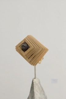Fumitaka Kudo, Sequence of space, 2015, black Belgian marble, soapstone, wood, 122x20x53 cm