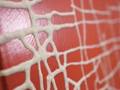 Massimiliano Galliani, Le Strade del Tempo #4, vernice e polvere di marmo su tela, 90x152 cm (particolare)
