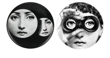 Fornasetti: Piatti in porcellana della serie 'Tema e variazioni', 1950-1980 (Diametro: 26 cm)