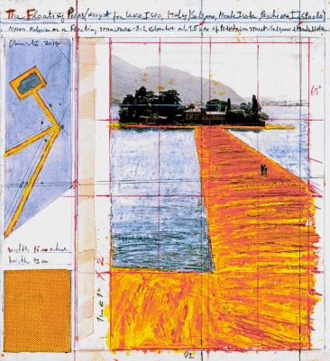 """Christo The Floating Piers (Project for Lake Iseo, Italy) Collage 2014 15 1/4 x 13 7/8"""" (38.7 x 35.2 cm) Pencil, wax crayon, enamel paint, photograph by Wolfgang Volz, technical data, fabric sample and tape Photo: André Grossmann © 2014 Christo"""