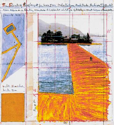 "Christo The Floating Piers (Project for Lake Iseo, Italy) Collage 2014 15 1/4 x 13 7/8"" (38.7 x 35.2 cm) Pencil, wax crayon, enamel paint, photograph by Wolfgang Volz, technical data, fabric sample and tape Photo: André Grossmann © 2014 Christo"