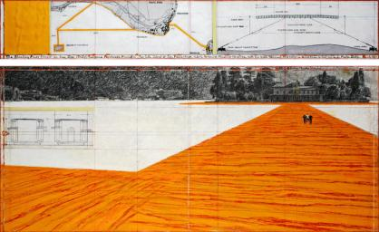 """Christo The Floating Piers (Project for Lake Iseo, Italy) Drawing 2015 in two parts 15 x 96"""" and 42 x 96"""" (38 x 244 cm and 106.6 x 244 cm) Pencil, charcoal, pastel, wax crayon, enamel paint, cut-out photographs by Wolfgang Volz, hand-drawn technical data, map, fabric sample and tape Photo: André Grossmann © 2015 Christo"""