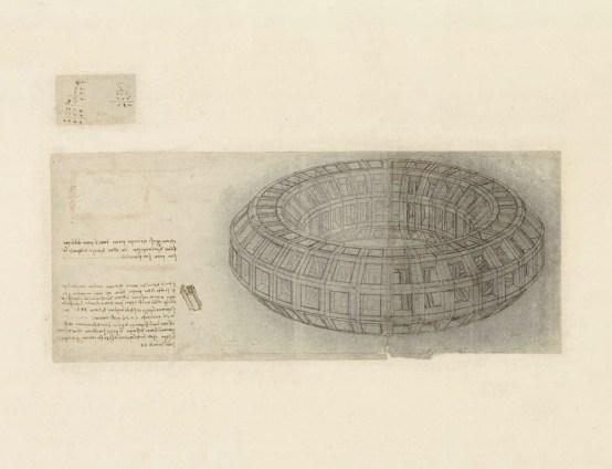 """Leonardo da Vinci, Studio prospettico di un """"mazzocchio"""" (dal Codice Atlantico), 1510 circa, punta di stilo, matita nera, polvere di carboncino, penna e inchiostro su carta non preparata, ripiegata e puntinata per lo spolvero, 15.4x37.5 cm, Veneranda Biblioteca e Pinacoteca Ambrosiana, Milano"""