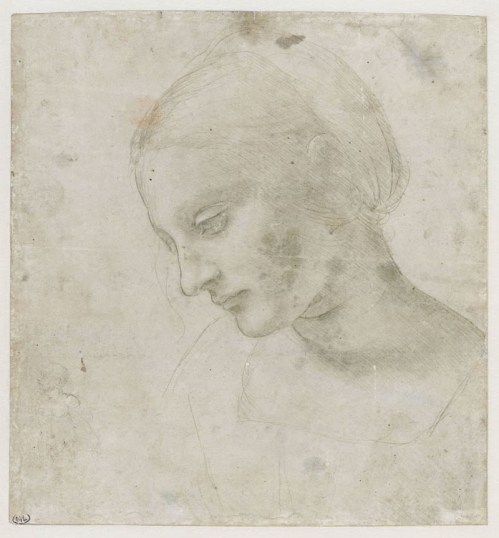 Leonardo da Vinci, Testa di donna inclinata verso il basso quasi di profilo, 1488-90, punta metallica rialzata di biacca su carta preparata in azzurro pallido (matita nera per un disegno di figura a sinistra in basso non di Leonardo), 17.9x16.8 cm, Musee du Louvre, Departement des Art graphiques, Parigi