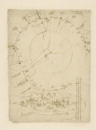 Leonardo da Vinci, Pianta di Milano (dal Codice Atlantico), 1507-10 circa, penna e inchiostro su carta, 29x21.1 cm, Veneranda Biblioteca e Pinacoteca Ambrosiana, Milano