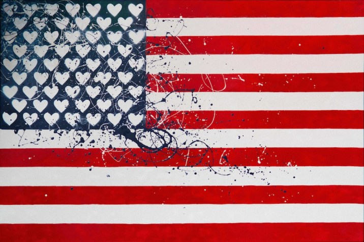 Angelo Cruciani, United States of Love, 2015, vernici su tela, 100x150 cm