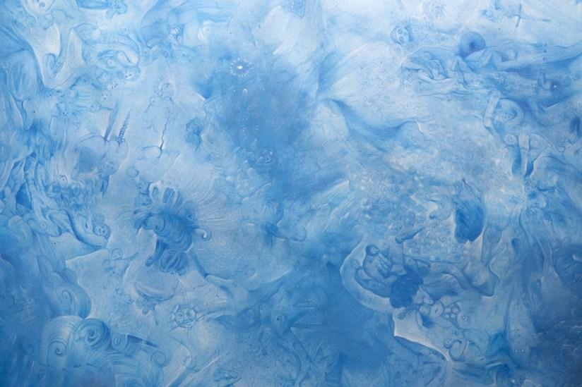 Francesco Lauretta, Esercizi di Equilibrio (blu), 2013, pastelli su carta, 196x135 cm