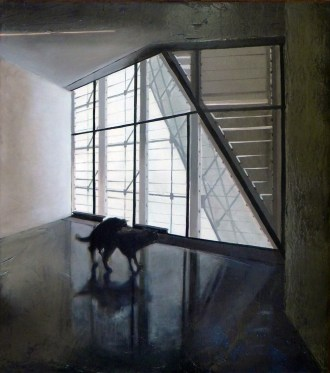Marco Pace, Black plays in the Museion, 2014, olio su tavola, 45x50 cm