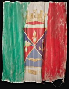 Gianfranco Notargiacomo, Una vis, 2013, tecnica mista su bandiera, 150x130 cm