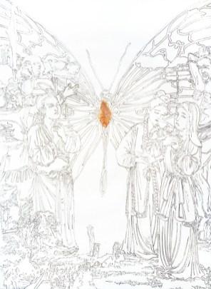 Giovanni Gaggia, Sangunis Suavitas, sangue e matita su carta cotone, 56x76.2 cm