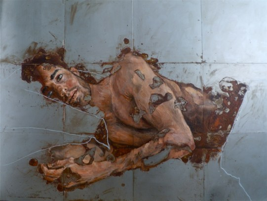 Sabatino Cersosimo_Don't listen when I scream (VI) (2014) - oil and oxidation on steel (12 plates) 75x100 cm