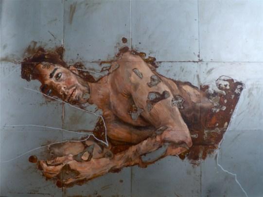 Sabatino Cersosimo_Don't listen when I scream (VI) (2014) - oil and oxidation on steel (12 plates) 75x100 cm
