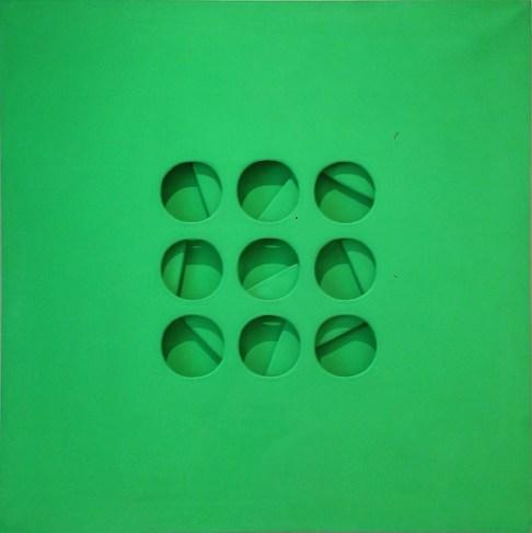 Paolo Scheggi, Intersuperficie curva dal verde, 1969, acrilico su tele sovrapposte, 100x100 cm