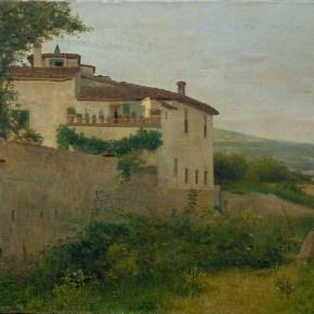 Silvestro Lega, Il villino Batelli a Piagentina, 1863, olio su tela, 40x70 cm, Viareggio, Istituto Matteucci