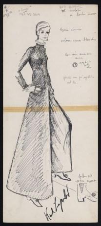Fendi, Collezione autunno/inverno 1967-68 Abito pantalone in lapin nero realizzato con lavorazione diagonale simmetrica, impreziosito da bottoni gioiello e chiffon e pizzo su collo e polsi
