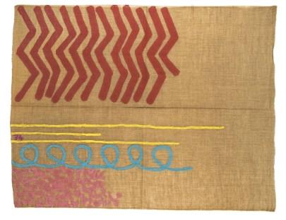 Giorgio Griffa, Tre linee con arabesco n.74, 1991, acrilico su tela, 106x137 cm