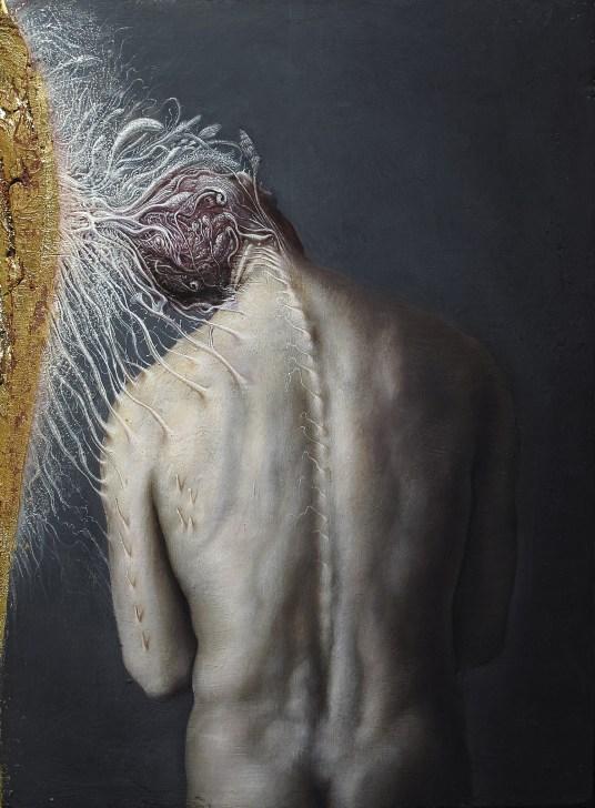 Agostino Arrivabene, Sinapsi, 2015, olio e oro in foglia su legno antico