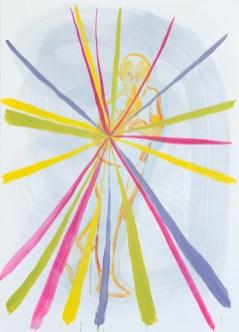 Lorenzo Morri L'Irradiato – il falso dio, 2014, olio su carta, 50 x 70 cm Courtesy dell'artista